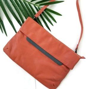 Handbags - Elk leather handbag crossbody orange gray trim
